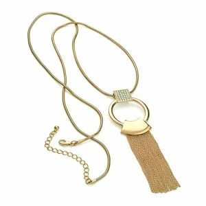 Stunning gold plated crystal ring chain tassel long length necklace