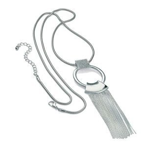 Stunning silver plated crystal ring loop chain tassel long length necklace