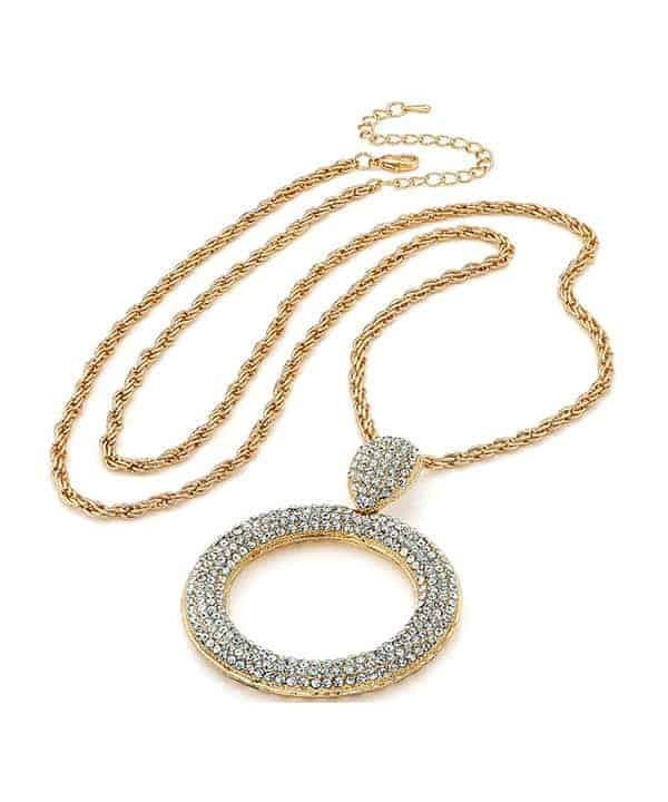 Gold diamante encrusted large round pendant on a long chain necklace