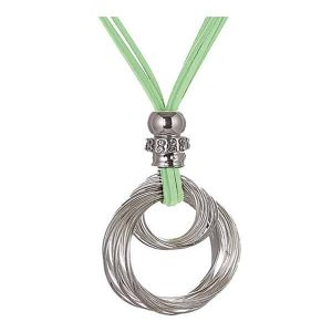 Chunky silver crystal bead twisted pendant green suede strand long necklace