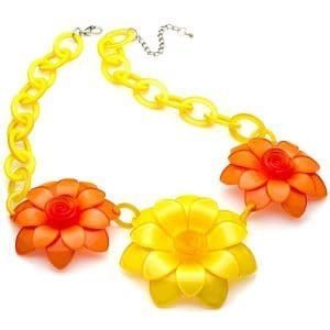 Large chunky yellow and orange colour flower acrylic resin fashion costume necklace