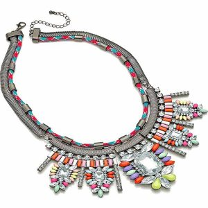 Fashion jewellery hematite grey plated crystal and multicolour stone statement choker necklace