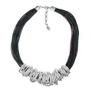 Dress wear silver chunky spiral wrap wire black cord fashion jewellery necklace