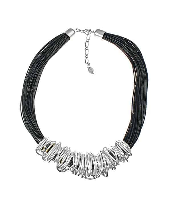 Dress wear silver chunky spiral wrap wire black leather cord necklace