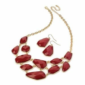 Unusual red faux stone gold colour choker necklace with matching earrings