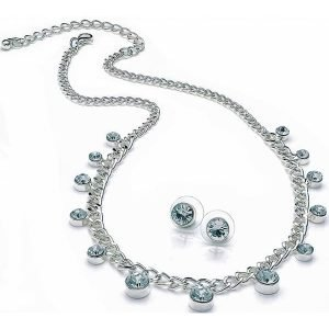 Silver plated eye catching crystal diamante stone choker necklace and matching earrings set