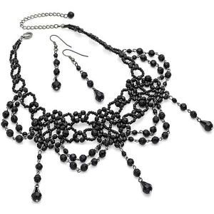 Vintage gothic victorian burlesque black stone bead choker necklace and earring set