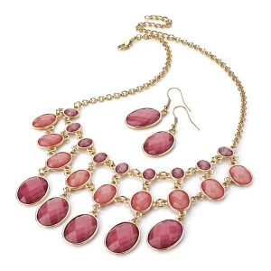 Dazzling dangling fashion pink stone gold statement necklace earrings set
