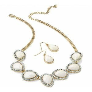 Crystal and cream colour imitation pear stones gold chain choker necklace