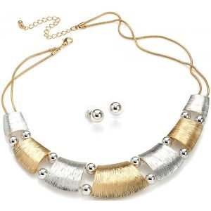 Textured gold and silver necklace including earring jewellery set