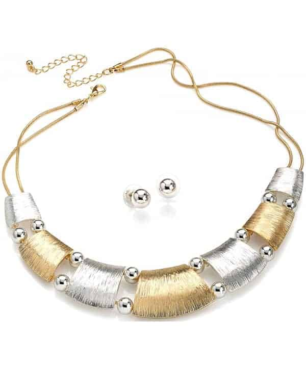Textured gold and silver metal plate with beads chain choker necklace including earring