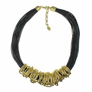 Gold spiral wrap wire black leather cord fashion costume jewellery necklace