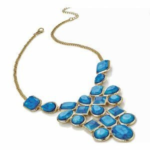 Dress wear gold plated blue colour stones chain choker statement necklace