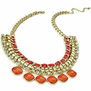 Statement shiny gold costume jewellery bead and crystal stones necklace
