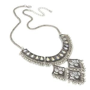 Burnished silver AB crystal dangling choker necklace