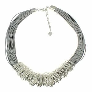 Dress wear silver chunky spiral wrap wire grey leather cord fashion jewellery necklace