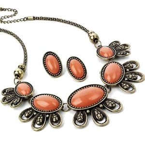Burnished gold peach stone necklace & earrings