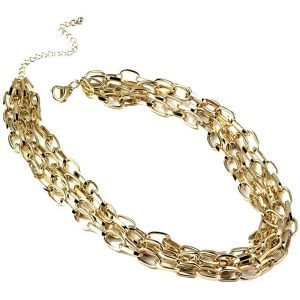 Gold colour 4 stranded link fashion jewellery choker chain necklace