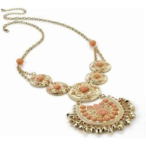 Fancy and bold gold colour peach bead chain necklace