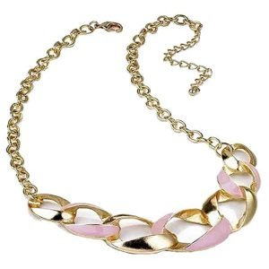 Gold and pink colour fashion curb chain choker necklace