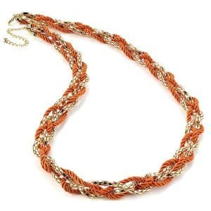 Fashion jewellery gold colour chain and orange cord rope necklace