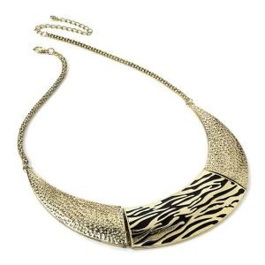Statement gold colour animal print chunky choker necklace