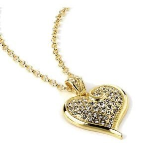 Gold colour diamante encrusted heart long necklace jewellery