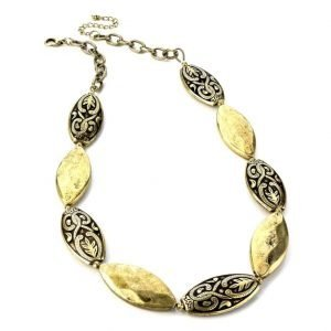 Multi gold tone textured oval choker necklace