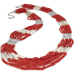 Red coral seed bead multi strand silver long necklace costume jewellery