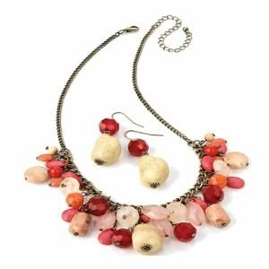 Stone bead brass colour choker necklace and earrings