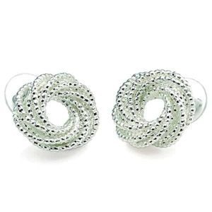 New ladies silver plated colour swirl twisted design knot stud earrings