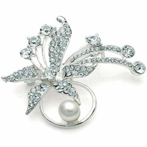 Faux pearl and diamante flower bouquet silver brooch
