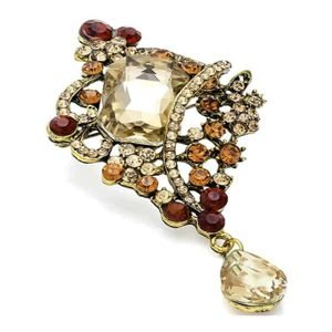 Dangling brown tone diamante burnished gold costume jewellery pin brooch