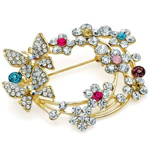 Multi colour crystal butterfly floral design gold costume jewellery pin brooch