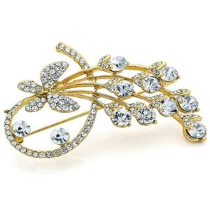 Diamante butterfly floral flower design gold costume jewellery brooch