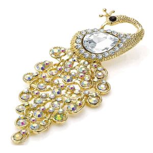 AB crystal and pear diamante peacock gold design brooch
