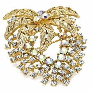 AB diamante floral flower gold plated costume jewellery pin brooch