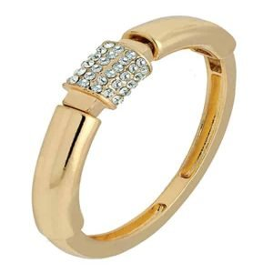 Gold plated crystal diamante easy fit elasticated bangle