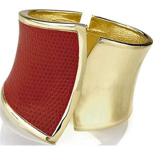 Wide red snake pattern hinge fashion bangle