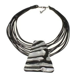 Tribal large silver painted buffalo horn pendant cord choker necklace