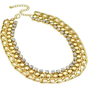 Diamante Cleopatra gold chain choker necklace