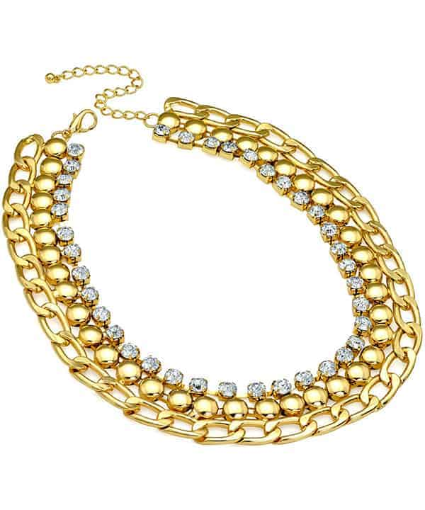 Diamante crystal Cleopatra style gold plated fashion jewellery chain choker necklace