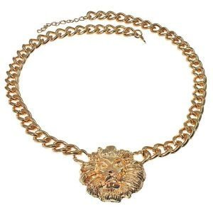 Chunky gold lion head pendant fashion jewellery curb necklace