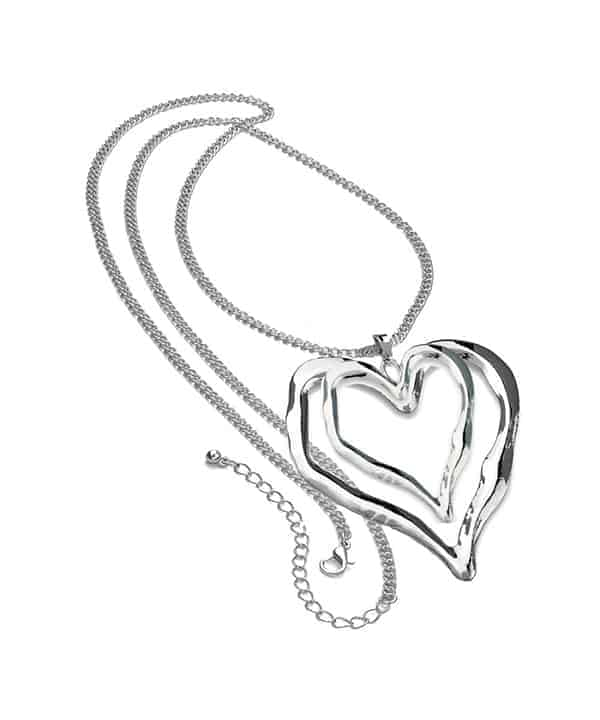 Ladies shiny silver long curb chain very large double heart pendant necklace