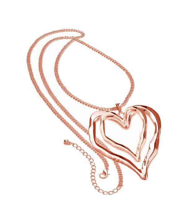 Rose gold long curb chain very large double heart pendant necklace