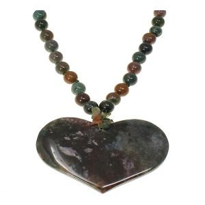 Semi precious brownish red green agate stone bead large heart pendant choker necklace