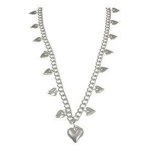 Matte silver multiple heart charm on a chunky curb long necklace