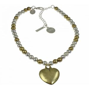 Rustic brass and silver colour heart pendant small ball bead short fitting necklace