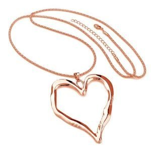 Ladies rose gold long chain very large chunky heart pendant fashion costume jewellery necklace