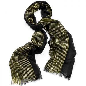 Black and gold colour lurex printed design fashion scarf